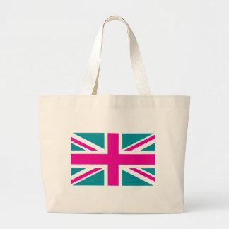 Shock Pink Union Jack British UK Flag Tote Bag