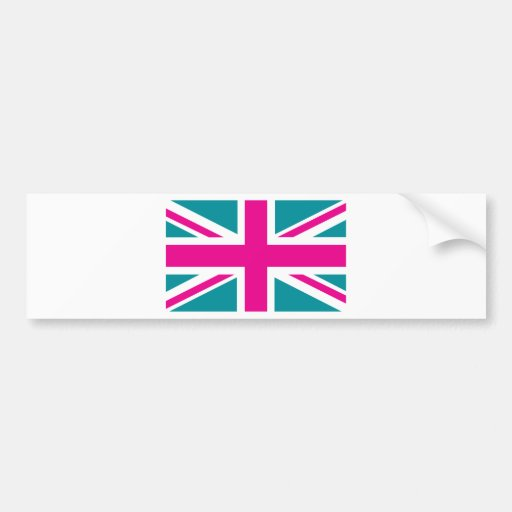 Shock Pink Union Jack British(UK) Flag Bumper Sticker