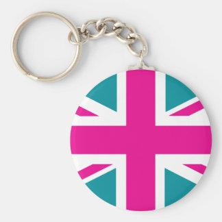 Shock Pink Union Jack British(UK) Flag Key Chains