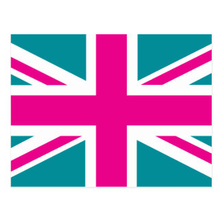 Shock Pink Union Jack British(UK) Flag Postcard