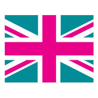 Shock Pink Union Jack British(UK) Flag Postcard