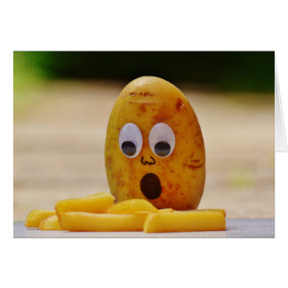 Shocked potato and french fries on blank card