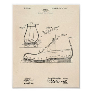 Shoe 1906 Patent Art Old Peper Poster