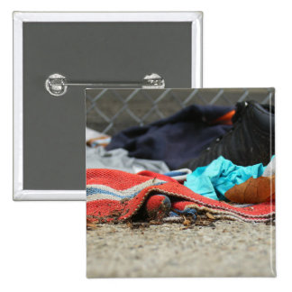 Shoe And Clothing On The Street Pinback Buttons