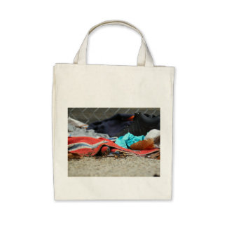 Shoe And Clothing On The Street Canvas Bag