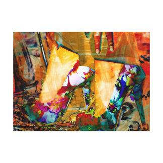 Shoe Art In Floral Canvas Print