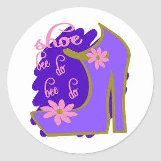 Shoe Bee Do Bee Do With Shoe And Jagged Background Round Sticker