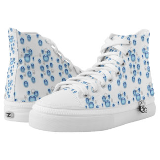 Shoe - Blue and White Bubbles Printed Shoes