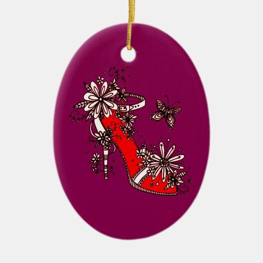 Shoe Ceramic Oval Decoration