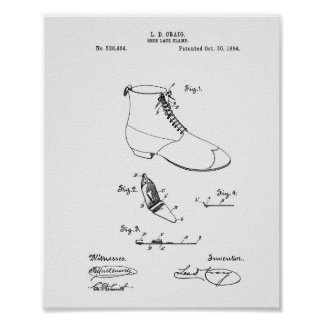 Shoe Lace Clamp 1894 Patent Art White Paper Poster