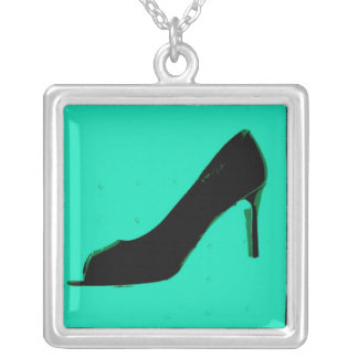 Shoe Love Fashion Pumps Square Pendant Necklace