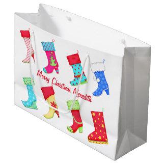 Shoe Lover Name Personalised Christmas Stocking Large Gift Bag