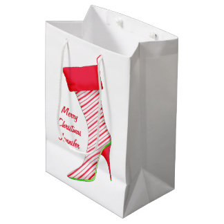 Shoe Lover Name Personalized Christmas Stocking Medium Gift Bag