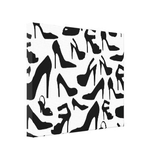 shoe pattern.ai stretched canvas print