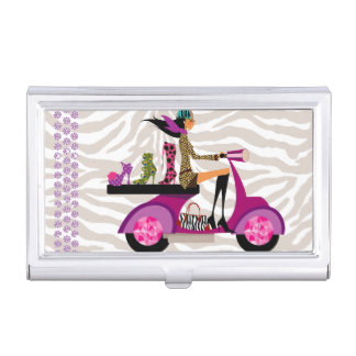 Shoe Scooter Girl Fashion Cute Cool Zebra Business Card Holder