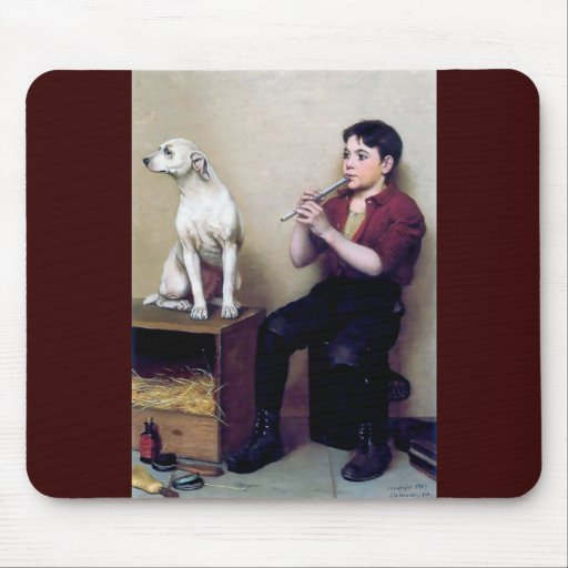 Shoe shine Boy playing flute and his Dog Mousepad