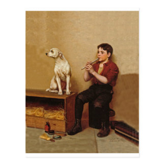 Shoe Shine Boy with Flute and Dog 1907 Postcard