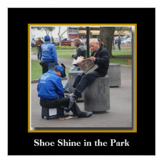 Shoe Shine in the Park in Lima, Peru Poster