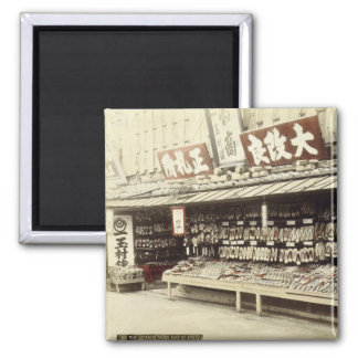 Shoe shop in Kyoto, c.1890 (hand-coloured photo) Square Magnet