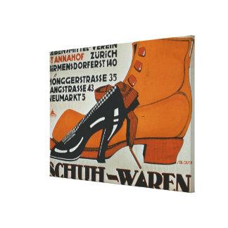 'Shoe Shops', Zurich (colour litho) Canvas Prints