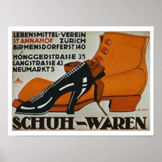'Shoe Shops', Zurich (colour litho) Poster
