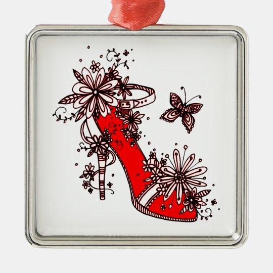 Shoe Silver-Colored Square Decoration