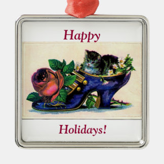 Shoe w rose and kitten, Happy, Holidays! Silver-Colored Square Decoration