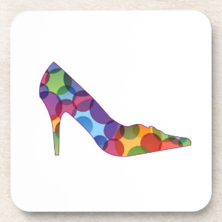 Shoe with colorful circles beverage coasters