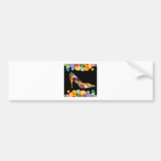 Shoe with colorful circles bumper sticker