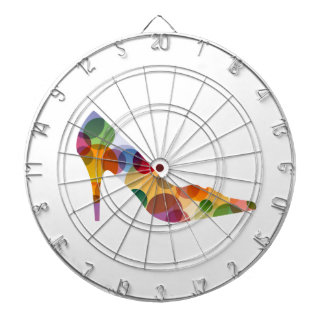 Shoe with colorful circles dartboard