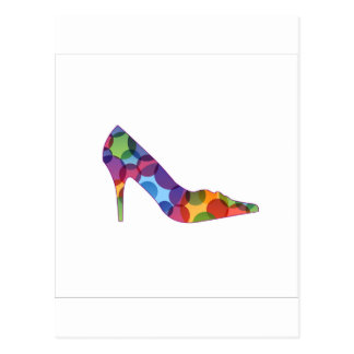 Shoe with colorful circles postcard