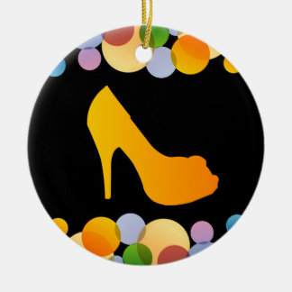 Shoe with colorful circles round ceramic decoration