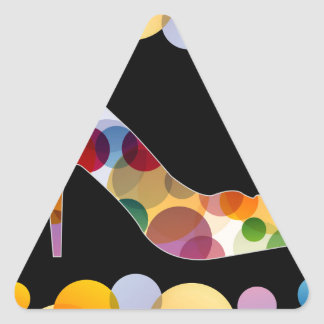 Shoe with colorful circles triangle sticker