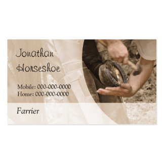 Shoeing a horse, with a blank reverse pack of standard business cards