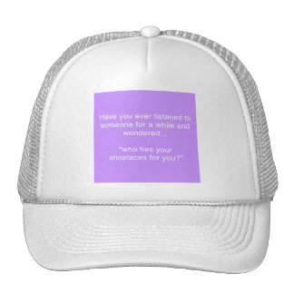 SHOELACE INSULT FUNNY HUMOR SAYINGS HAT