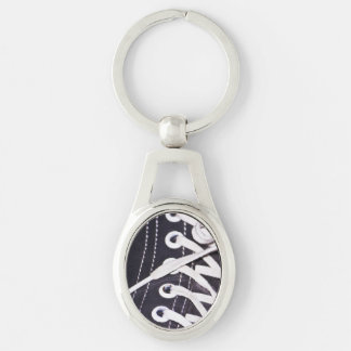 Shoelaces Closeup Silver-Colored Oval Key Ring