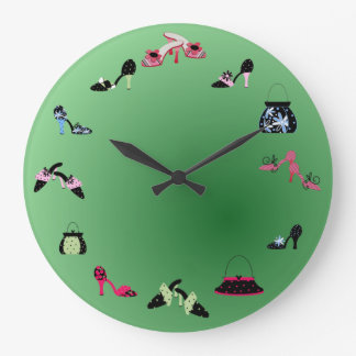 Shoes and Bags and Shades of Green Large Clock