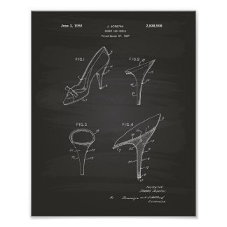 Shoes and Heels 1958 Patent Art Chalkboard Poster