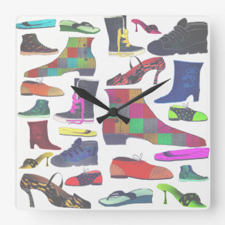 Shoes Colorful Bright Retro Fashion Cartoon Funny Square Wall Clock