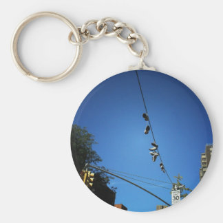 Shoes Hanging from a Power Line in Alphabet City Basic Round Button Key Ring