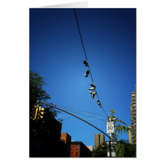 Shoes Hanging from a Power Line in Alphabet City Card
