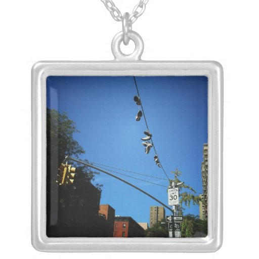 Shoes Hanging from a Power Line in Alphabet City Personalized Necklace