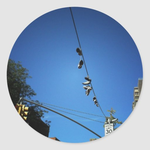 Shoes Hanging from a Power Line in Alphabet City Round Stickers