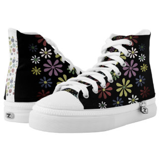 Shoes High Top Unisex Black Meadow Printed Shoes