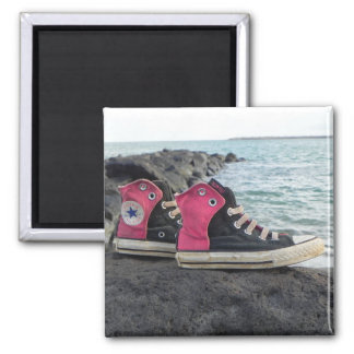 Shoes on the Beach Square Magnet