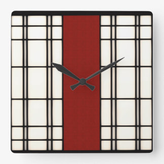 Shoji - red square wall clock