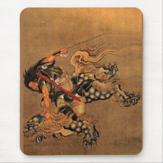 Shoki Riding A Shishi Lion Mouse Pad