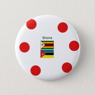 Shona Language And Zimbabwe and Mozambique Flags 6 Cm Round Badge