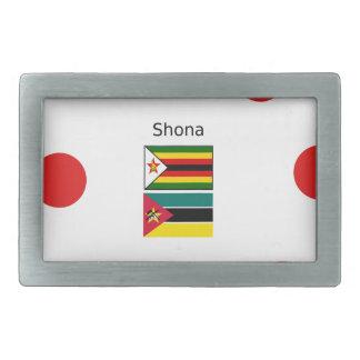 Shona Language And Zimbabwe and Mozambique Flags Belt Buckle