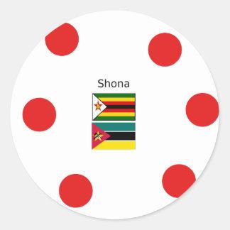 Shona Language And Zimbabwe and Mozambique Flags Classic Round Sticker